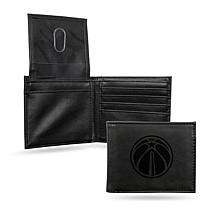 Rico NBA Laser-Engraved Black Billfold Wallet - Wizards