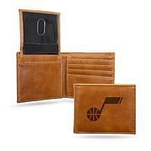 Rico NBA Laser-Engraved Brown Billfold Wallet - Jazz