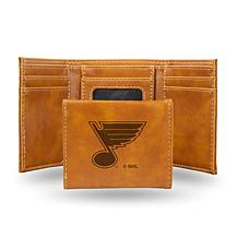 Rico NHL Laser-Engraved Brown Trifold Wallet - Blues