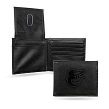 Rico Orioles Laser-Engraved Black Billfold Wallet