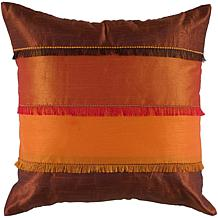 "Rizzy Home 18"" x 18"" Fringe Pillow - Orange/Rust"