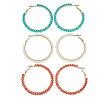 "R.J. Graziano ""Freestyle"" 3-piece Seed Bead Hoop Earrings Set"