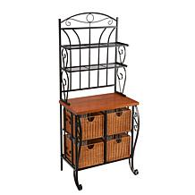 Ryde Iron and Wicker Baker's Rack