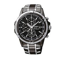 Seiko Men's Black Solar-Powered Alarm Chronograph/Tachymeter Watch