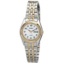 Seiko Women's Two-Tone Stainless Steel White Dial Solar Watch