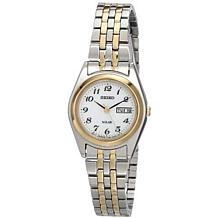 Seiko Women's Two-Tone Stainless Steel White Dial Solar Watch