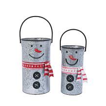 Set of 2 Nesting Metal Snowman Buckets