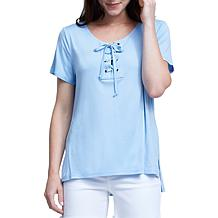 Seven7 Short Sleeve Lace-Up Grommet Tee