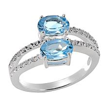 Sevilla Silver™ 1.92ctw Blue Topaz and White Topaz Bypass Ring