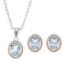 Sevilla Silver™ Blue and White Topaz Pendant/Earring Set