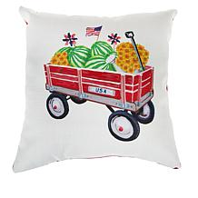 """Sewing Down South Red Wagon 20"""" x 20"""" Throw Pillow"""