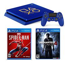 "Sony PlayStation 4 Slim 1TB Days of Play Blue Console w/""Spiderman"""
