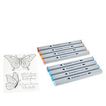"Spectrum Noir ""Butterfly"" Clear Stamp and Illustrator Marker Set"
