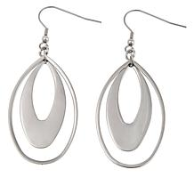 Stately Steel Elongated Double Oval Drop Earrings