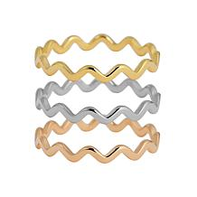 Stately Steel Tri-Colored Wave Ring Set