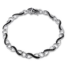 Sterling Silver .25ctw Black Diamond Infinity Link Bracelet