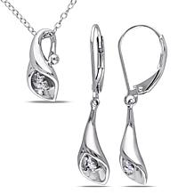 Sterling Silver Diamond Calla Lily Earrings, Pendant and Chain