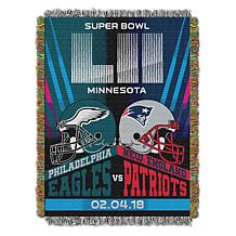 "Super Bowl LII Dueling Eagles vs. Patriots 48"" x 60"" Tapestry Throw"