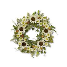 """The Gerson Company 24""""D Sunflower Wreath with Berry Accents"""