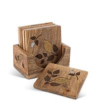 The Gerson Company Mango Wood with Metal Inlay Design 6-Pc Coaster Set