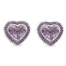 Tiffany Kay Studio Amethyst Purl Knit Heart Stud Earrings
