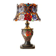 Tiffany-Style Bouquet of Roses Double Lit Table Lamp