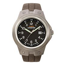 Timex Men's Expedition Metal Tech Black Dial Brown Leather Strap Watch