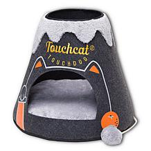 Touchcat Molten Lava Triangular Cat Bed House with Toy