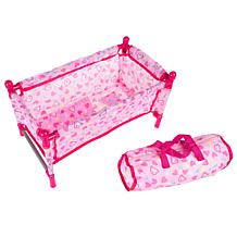 """Toy Time Baby Doll Bed and Playpen for 15"""" Dolls"""