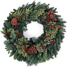 """Van Zyverden Fresh Cut 24"""" Pacific Northwest Berry Christmas Wreath"""