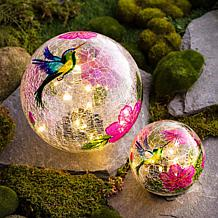 Wind and Weather 2-pk Hummingbird Butterfly Solar Crackle Glass Globes