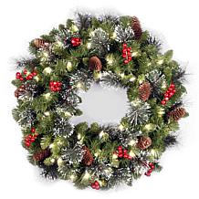 "Winter Lane 24""Battery-Operated Crestwood Spruce Wreath"