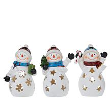 Winter Lane 3 Snowman LED Figurines with 6-Hour Timers