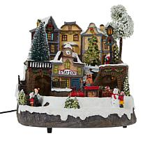 Winter Lane Musical Lighted Village with Moving Train