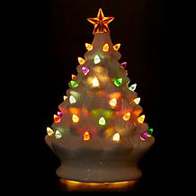 ... Winter Lane Set of 2 Lighted Musical Ceramic Christmas Trees ...