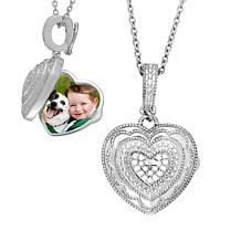 """With You Lockets™ Sterling Silver """"Rose"""" .08ctw Diamond Heart Locket"""