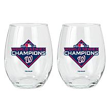 World Series Champions 2019 Nationals Stemless Wine Glass- 2 Pack