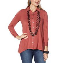 WynneLayers Button-Front Butterfly Shirt