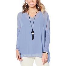 WynneLayers Mixed Media Pullover Top