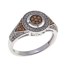 0.32ctw Colored and White Diamond Art Deco Ring