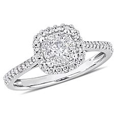 0.47ctw White Diamond 10K White Gold Halo Ring
