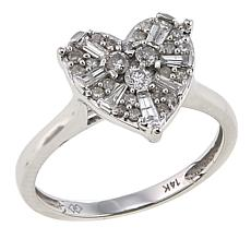 0.50ctw Diamond Heart 14K White Gold Ring