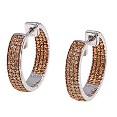 0.50ctw Pavé-Set Colored Diamond Inside-Outside Hoop Earrings