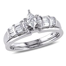 0.53ctw Engagement Ring and Wedding Band 14K Gold Set