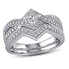 0.63ctw Diamond 14K White Gold 2-Ring Bridal Set