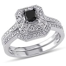 0.65ctw Black and White Diamond 10K White Gold 2pc Set