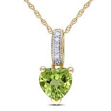 0.86ctw Peridot and White Diamond 10K White Gold Heart
