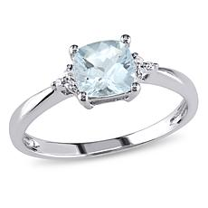 0.87ctw Aquamarine and White Diamond 10K White Gold Ring