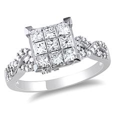 0.99ctw Princess and Round White Diamond 10K Ring