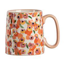 10 Strawberry Street Bella Ditzy Floral Coral Mug 4-Pack